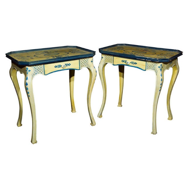 Painted French Side Tables - A Pair - Image 1 of 7