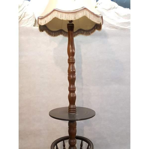 Early 20th Century Solid French Floor Lamp With Attached Table For Sale - Image 4 of 9