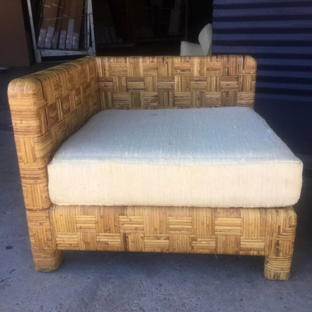 Vintage Woven Caning Sectional Sofa - Image 6 of 11