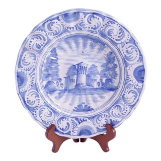 """Antique Portuguese Faience Scalloped """"Pie-Crust"""" Edge Charger"""
