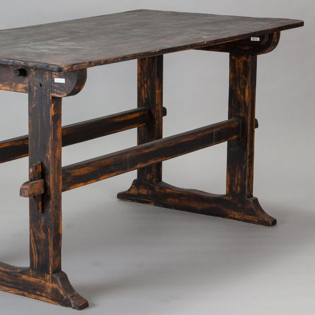 Mid-Century Modern 18th Century Swedish Trestle Table with Black Finish For Sale - Image 3 of 7