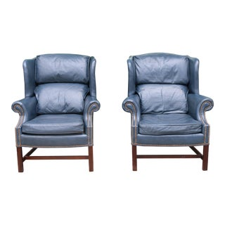 Leather Teal Wingback Chairs - A Pair