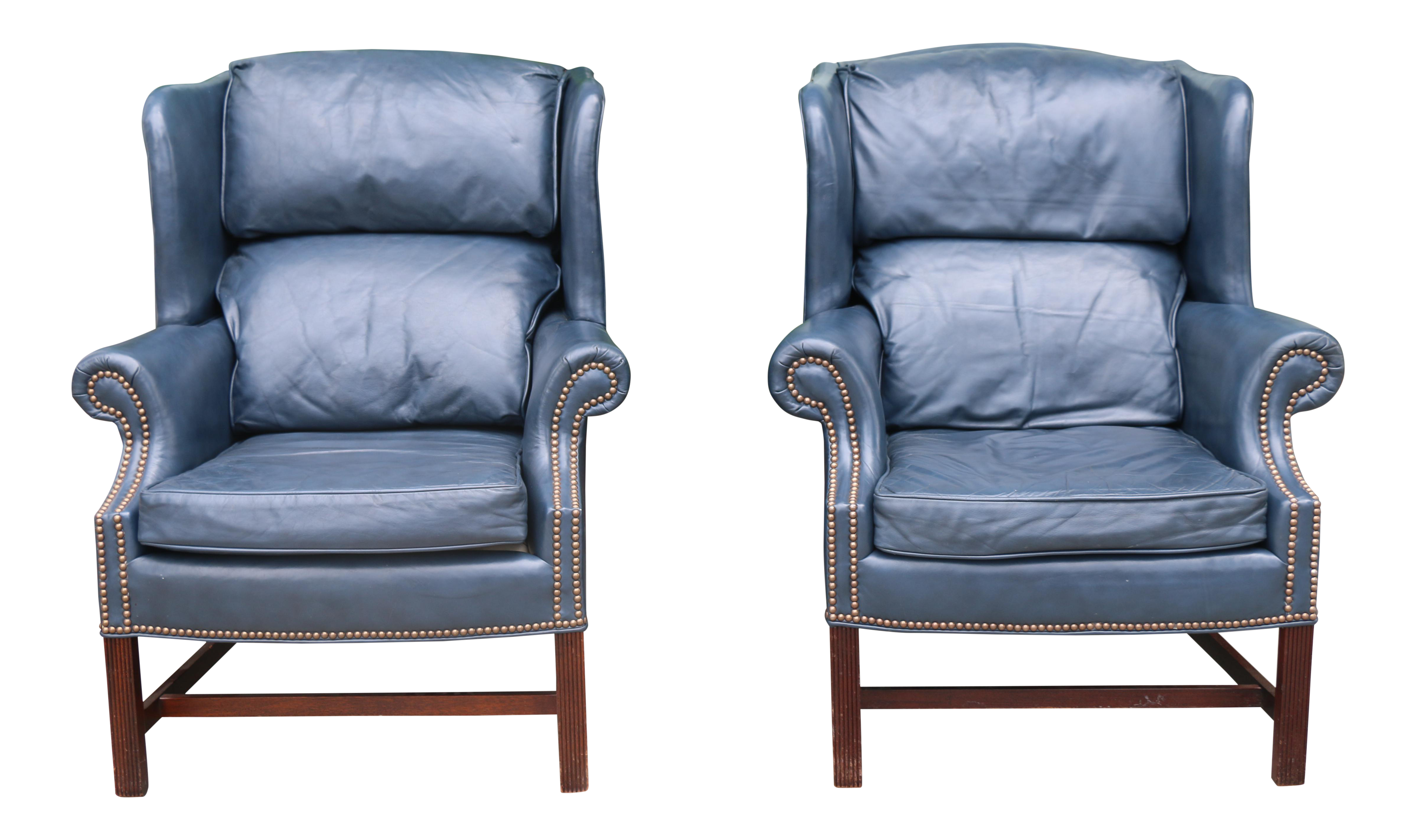 Leather Teal Wingback Chairs   A Pair For Sale
