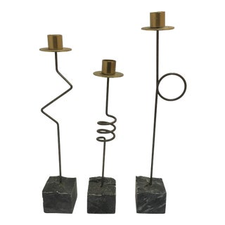 Post Modern Metal Candle Holders on Stone - Set of 3