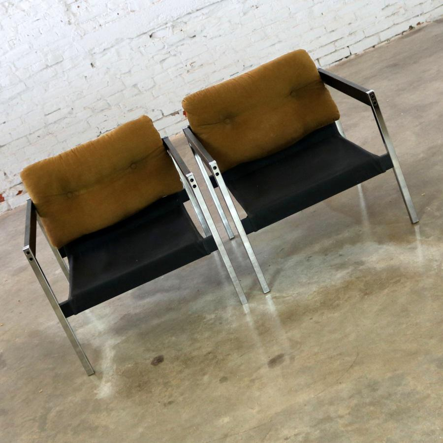 Landes Manufacturing Sling Lounge Chairs 683 From Encino Collection By  Jerry Johnson   A Pair