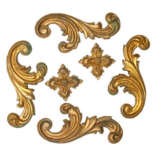 Italian Gilt Plaster Elements - Set of 6 For Sale