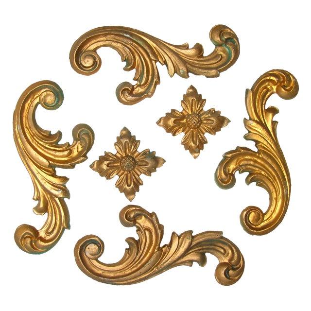 Italian Gilt Plaster Elements - Set of 6 For Sale