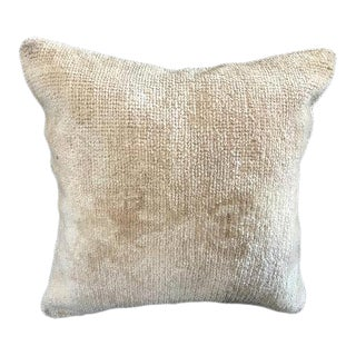 1960s Tribal Turkish Oushak Beige Cotton Pillow Cover For Sale