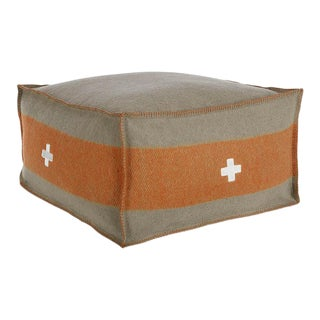 "Swiss Army Pouf, 24""X24""X13"", Grey/Orange For Sale"