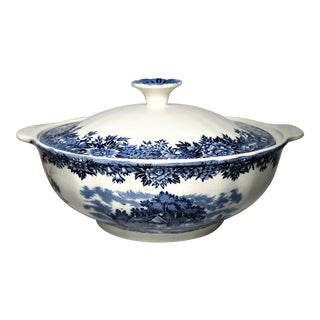 1940's Salem China Co. English Village Blue + White Covered Dish For Sale