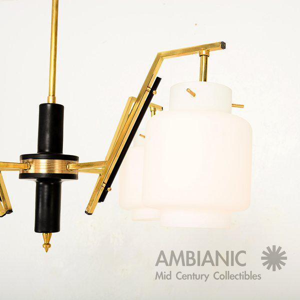Italian Italian Chandelier With Opaline Shades For Sale - Image 3 of 8