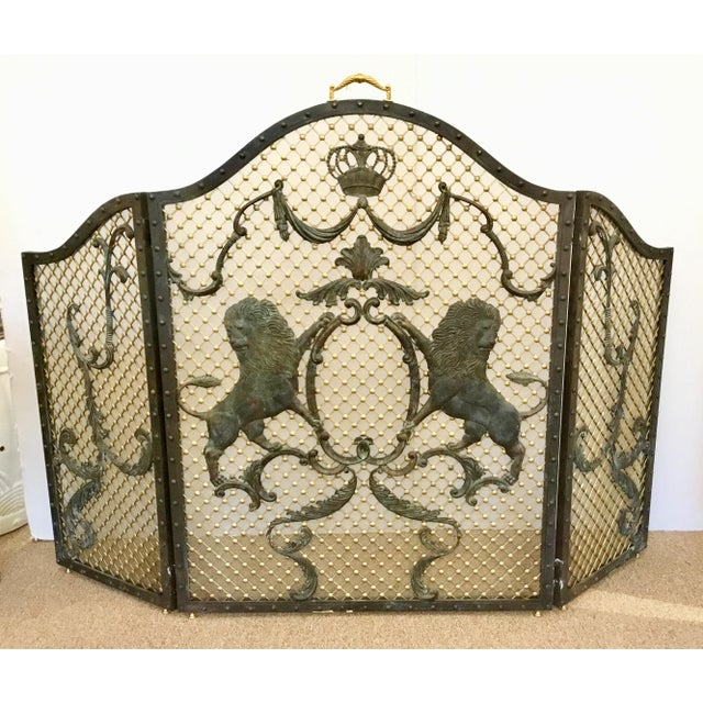 Maitland-Smith Traditional Large Iron Fire Screen For Sale In Atlanta - Image 6 of 6