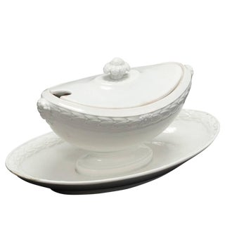 """Creamware """"Faïence Fine"""" Sauce Boat From Late 19th Century France For Sale"""