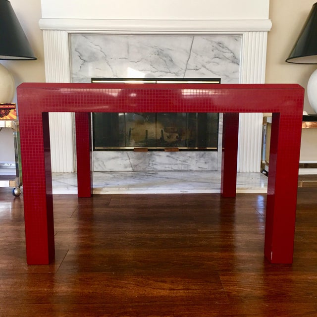 Red Postmodern Red Occasional Table With Graph Pattern For Sale - Image 8 of 9