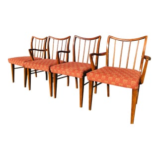 Curved Spindle Back Danish Modern Style Dining Chairs- Set of 4 For Sale