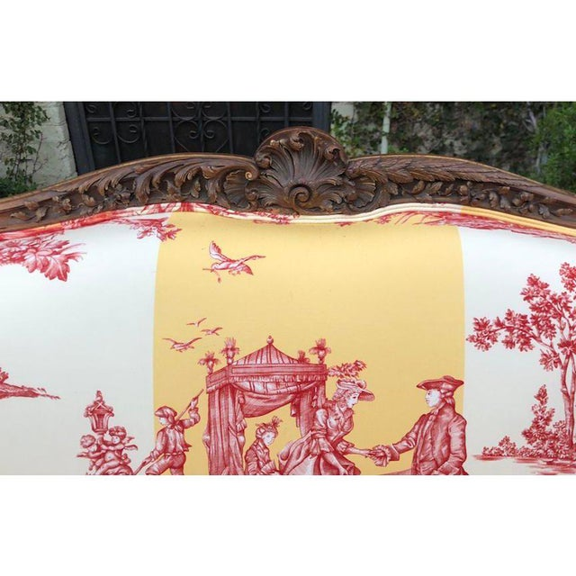 French Antique Louis XV Style Gilt-Wood Sofa Settee W/ Brunschwig & Fils - Water Garden For Sale - Image 3 of 9