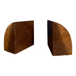 1920s Art Deco Burl Wood Bookends - a Pair For Sale