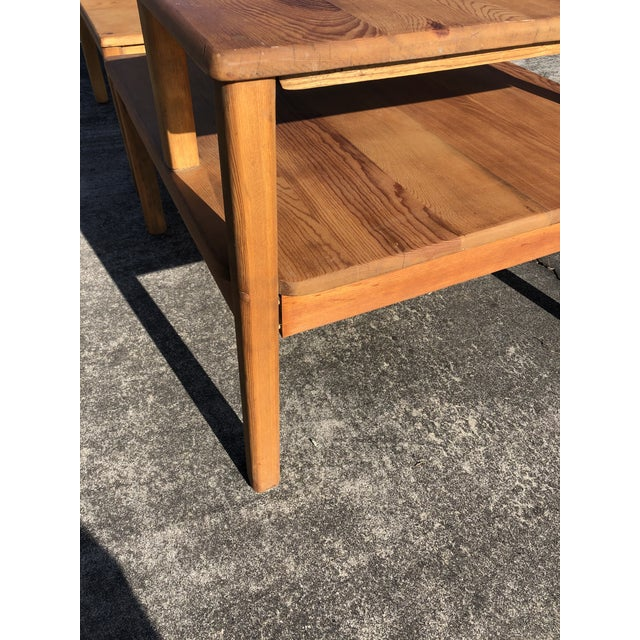 Large Pine Square Two Tier Side Tables - a Pair For Sale In Philadelphia - Image 6 of 11