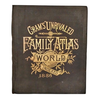 1886 Cram's Unrivaled Family Atlas of the World Book