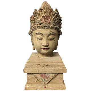 Chinese Wood Buddha Head Statue For Sale