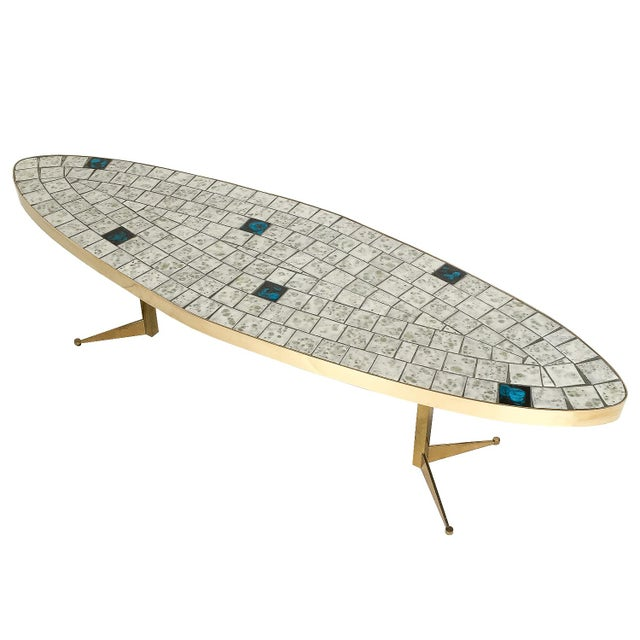 Italian Brass Tiled Top Surfboard Coffee Table For Sale - Image 4 of 13