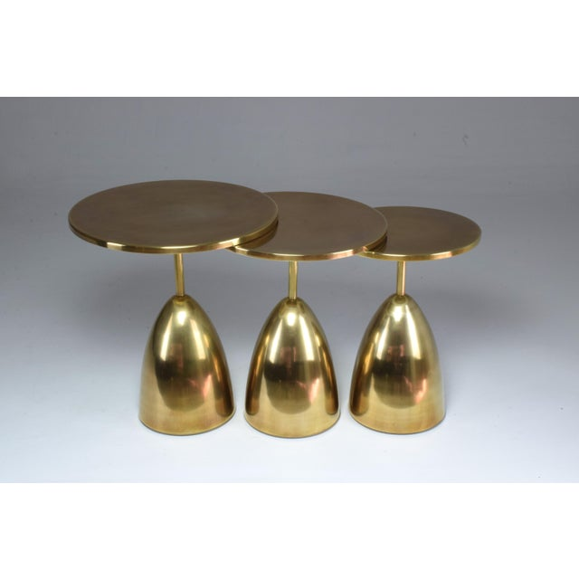 Pair of Contemporary Handcrafted Brass Side Tables, Flow Collection For Sale - Image 9 of 13