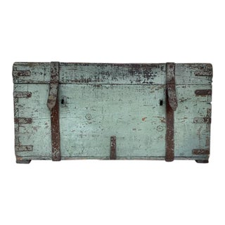 Painted Antique Pine Trunk For Sale