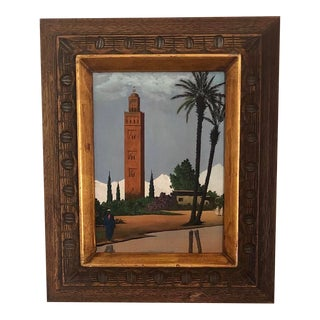 Mid Century Middle Eastern Scene Original Painting For Sale