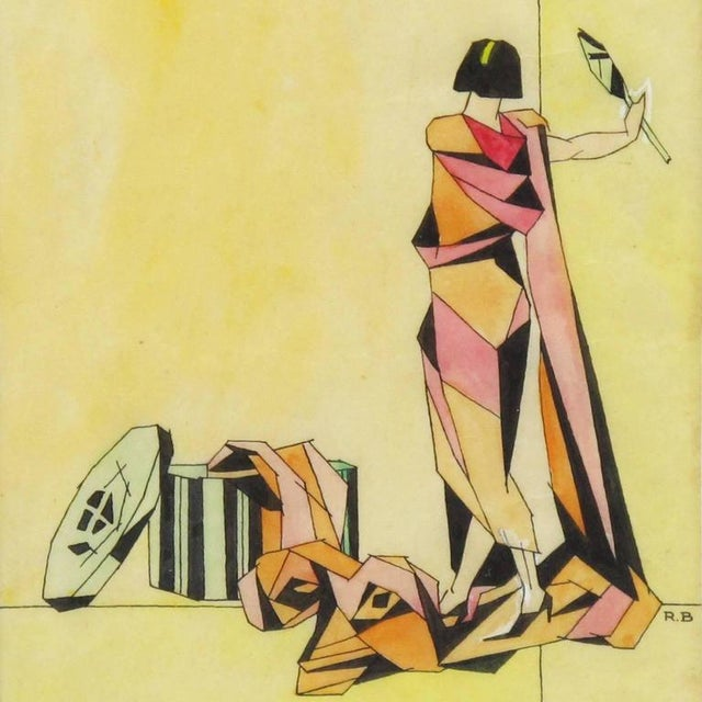 Art Deco Signed Colored Pencil on Tracing Paper Cubist Illustration Drawing For Sale - Image 4 of 7