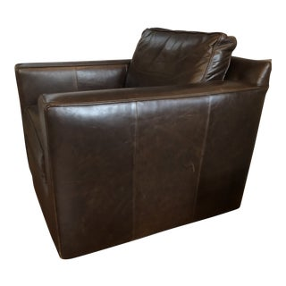 Modern Restoration Hardware Swivel Leather Captain's Chair For Sale