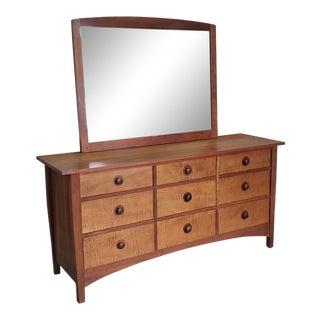 Stickley Furniture Harvey Ellis Mission Maple 9 Drawer Bedroom Dresser W/ Mirror Model 91-911 1990s For Sale