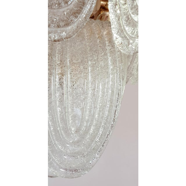 Mid-Century Modern Murano Glass and Plated Gold Chandelier by Mazzega For Sale - Image 9 of 10