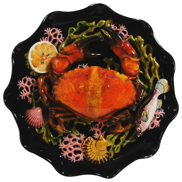 Majolica Palissy Crab Wall Platter For Sale