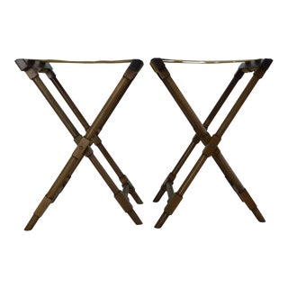 Vintage Mid Century X Campaign Table Base Luggage Racks - Pair For Sale
