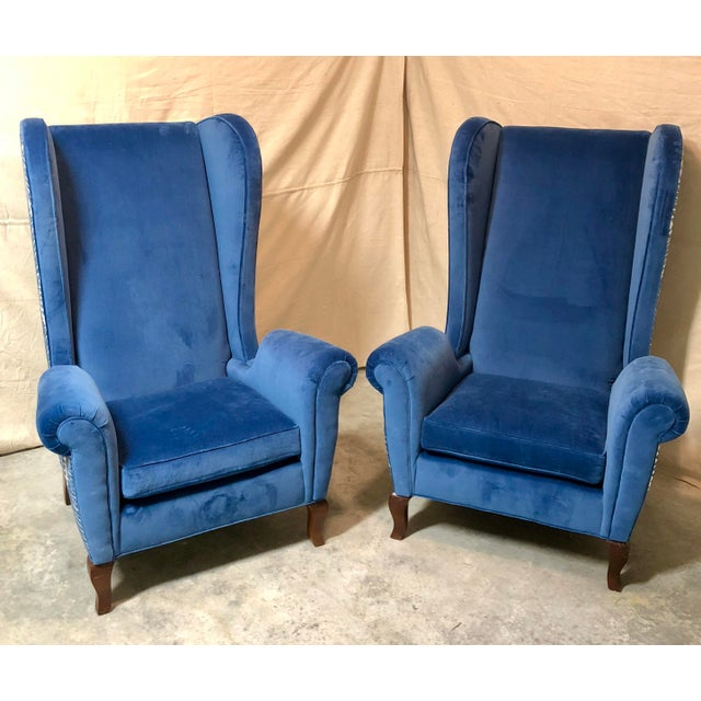 Fabric Blue Wingback Chairs - A Pair For Sale - Image 7 of 8