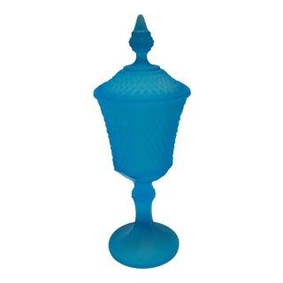 Vintage Mid Century Modern Urn Style Blue Glass Vase For Sale