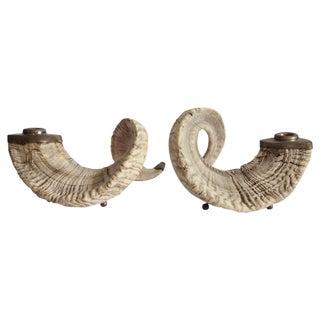 Large Ram Horns & Brass Candlesticks - Pair
