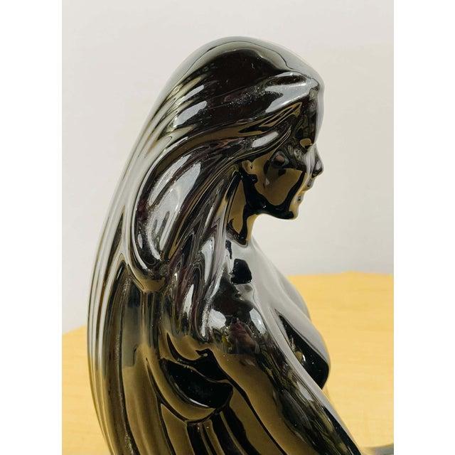 Art Deco Style Porcelain Figural Woman Sculpture Painted Black For Sale - Image 11 of 13