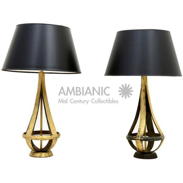 Pair of Brass Table Lamps Attributed to Arturo Pani - Image 2 of 5