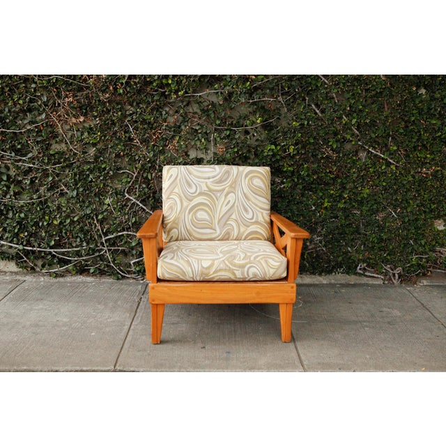 Large, warm toned, wood vintage side chair with modern swirl fabric reupholstered cushions. Height to seat: 18""