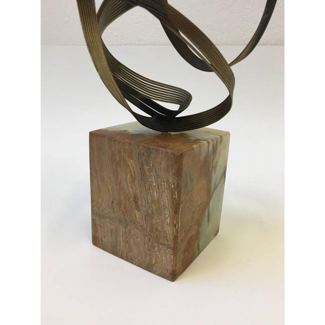 Gold Gilded Steel and Onyx Tabletop Sculpture by Curtis Jeré For Sale - Image 8 of 9
