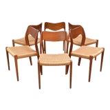 Image of Danish Modern j.l. Møller Model 71 Teak Dining Chairs - Set of Six For Sale