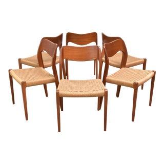 Danish Modern j.l. Møller Model 71 Teak Dining Chairs - Set of Six For Sale