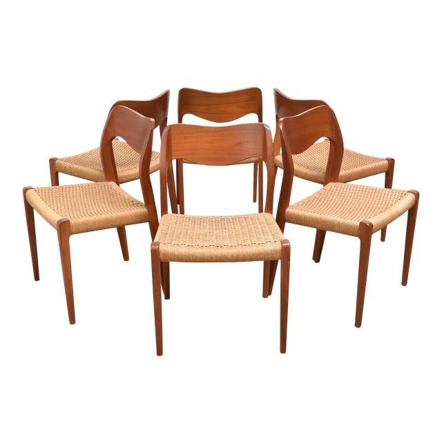 Danish Modern j.l. Møller Model 71 Teak Dining Chairs - Set of Six For Sale