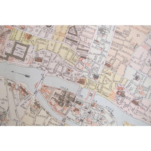 Art Nouveau 1887 Original French Map of Paris, Retrospective For Sale - Image 3 of 6