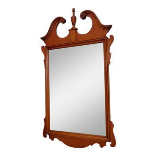 Very Nice Maple & Mahogany Chippendale Style Bedroom Hanging Wall Mirror ~ 1950s For Sale