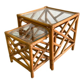 Asian Chinoiserie Rattan Nesting Tables For Sale