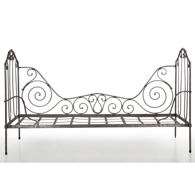 Late 19th Century Antique French Wrought Iron Campaign Style Daybed Sofa For Sale - Image 5 of 13