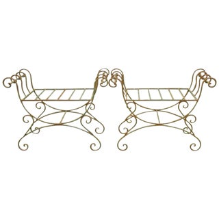 Pair of Hollywood Regency Wrought Iron Curule Benches For Sale