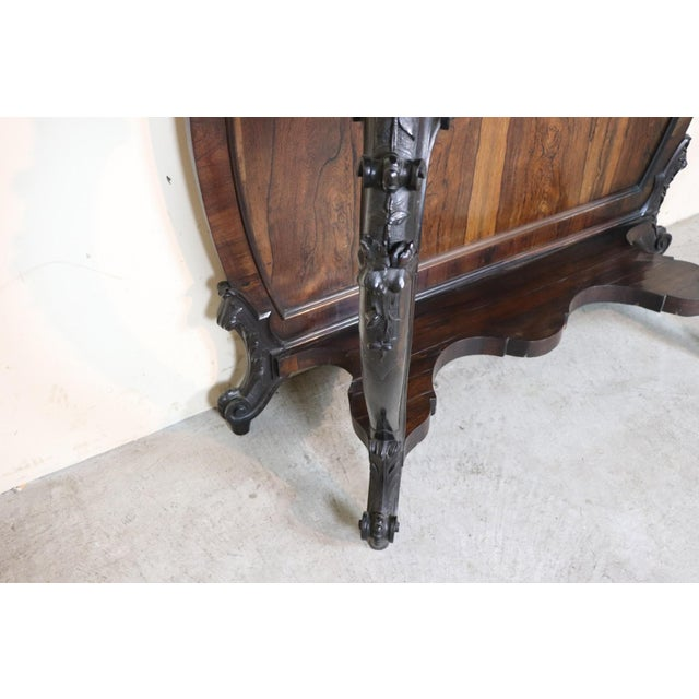 Italian 19th Century Italian Louis Philippe Rosewood Carved Marble-Top Console Table For Sale - Image 3 of 12
